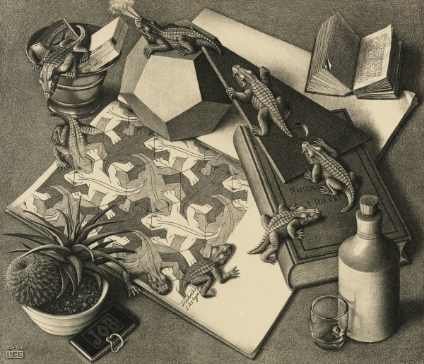 M.C. Escher, Reptiles (March 1943) Lithograph Collection Gemeentemuseum Den Haag, The Hague, The Netherlands. © 2015 The M.C. Escher Company-The Netherlands.