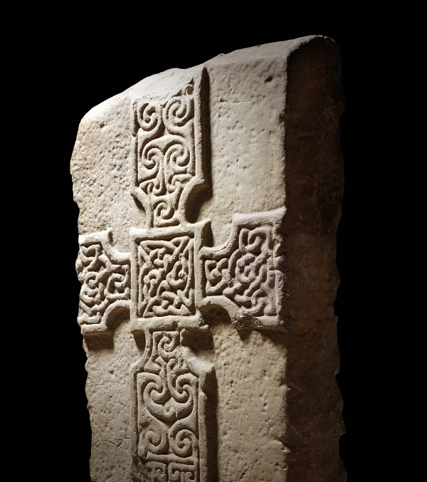 Cross-slab, Monifeith, Angus AD 700-800, stone; L 26 cm, W 30 cm, T 9cm. © National Museums Scotland, Edinburgh