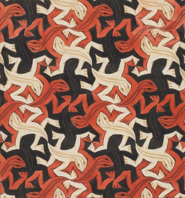 M.C. Escher Regular Division of the Plane with Reptiles/ Lizards no.56 (November 1942) Collection Gemeentemuseum Den Haag, The Hague, The Netherlands. © 2015 The M.C. Escher Company-The Netherlands.