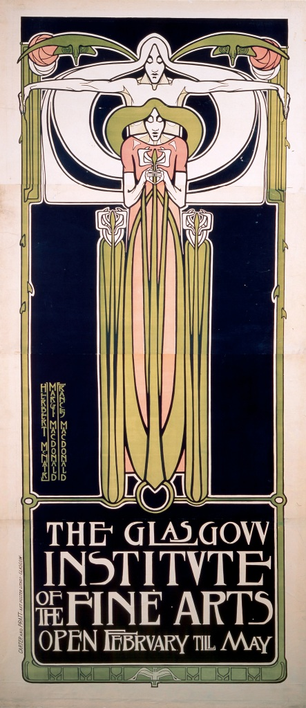 'Poster for the Glasgow Institute of Fine Arts' by Herbert McNair, Margaret and Frances Macdonald. c.1894. Lithograph: ink on paper; 236 x 102 cm. Printer: Carter & Pratt, Glasgow. © The Hunterian, University of Glasgow.