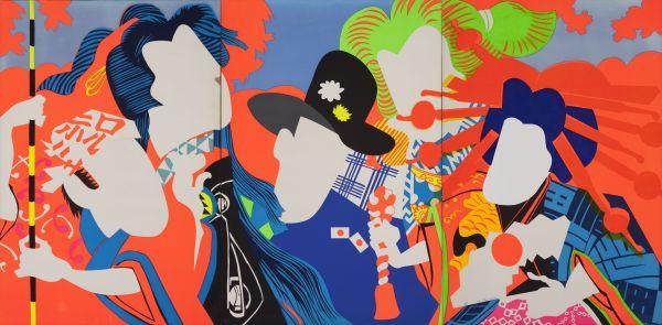 Ushio Shinohara, Doll Festival (1966) Fluorescent paint, oil, plastic board on plywood Hyogo Prefectural Museum of Art (Yamamura Collection) © Ushio and Noriko Shinohara