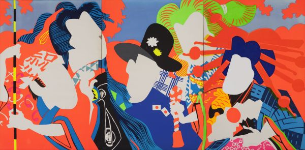 Ushio Shinohara, Doll Festival (1966) Fluorescent paint, oil, plastic board on plywood Hyogo Prefectural Museum of Art (Yamamura Collection) © Ushio and Noriko Shinohara