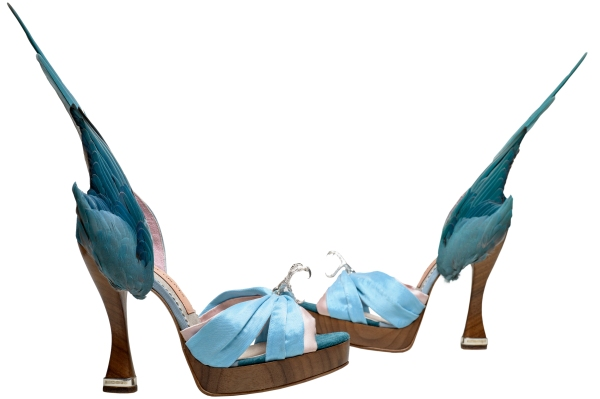 'Parakeet' shoes Artist: Caroline Groves, England (2014 ) Photography by Dan Lowe .