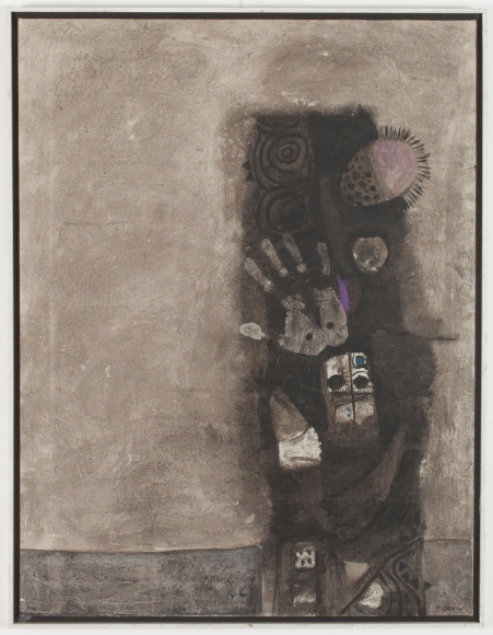 Dia Azzawi Mask of the Pretenders (1966) Oil on canvas.Barjeel Art Foundation, Sharjah.