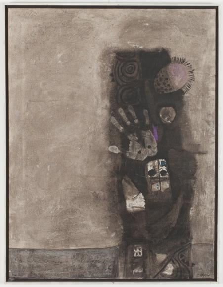 Dia Azzawi Mask of the Pretenders (1966) Oil on canvas.Barjeel Art Foundation, Sharjah.