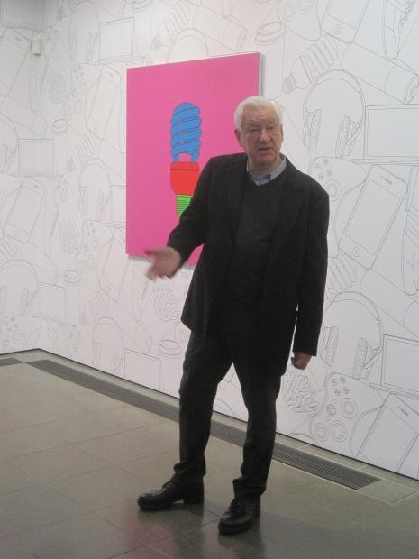 Michael Craig-Martin explains his work at the Serpentine Gallery. Photo: Simon Port