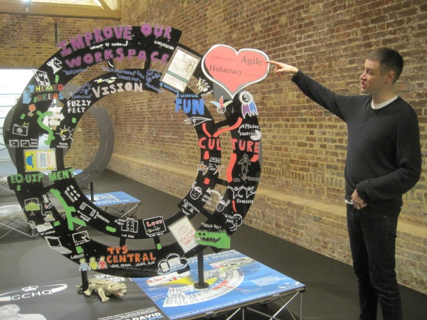 Simon Denny introduces Products for Organising at the Serpentine Sackler Gallery. Photo: Simon Port