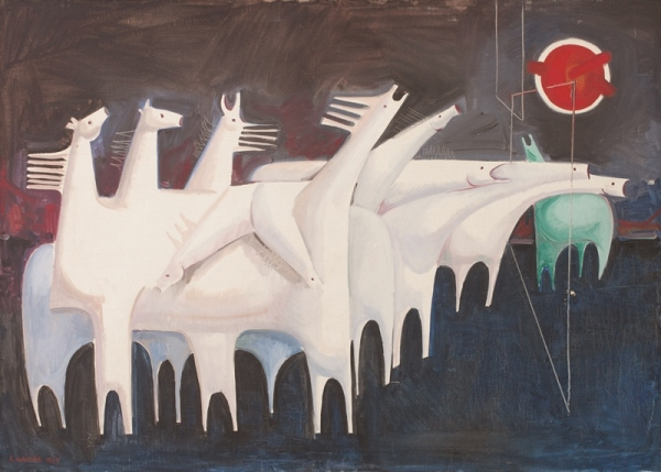 Kadhim Hayder, Fatigued Ten Horses Converse with Nothing (The Martyrs Epic) (1965) Barjeel Art Foundation, Sharjah