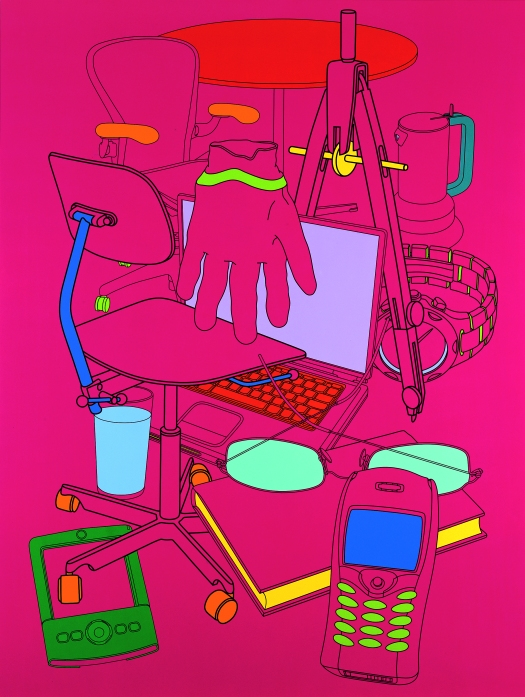 Michael Craig-Martin Biding Time (magenta) (2004) Acrylic on aluminium panel 243.8 x 182.9cm © Michael-Craig Martin. Courtesy of Gagosian Gallery.