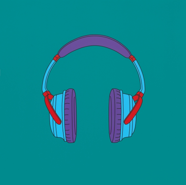 Michael Craig-Martin Untitled (headphones medium) (2014) Acrylic on aluminium 122 x 122cm © Michael-Craig Martin. Courtesy of Gagosian Gallery. Photo: Mike Bruce.