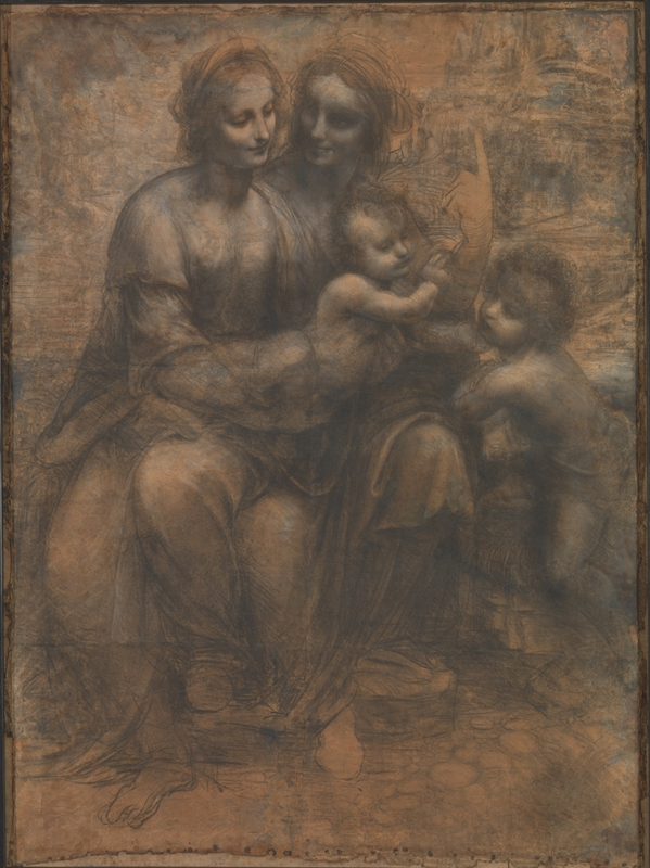 The Virgin and Child with Saint Anne and the Infant Saint John the Baptist ('The Burlington House Cartoon') (about 1499-1500) by Leonardo da Vinci, 1452 - 1519. The National Gallery, London.