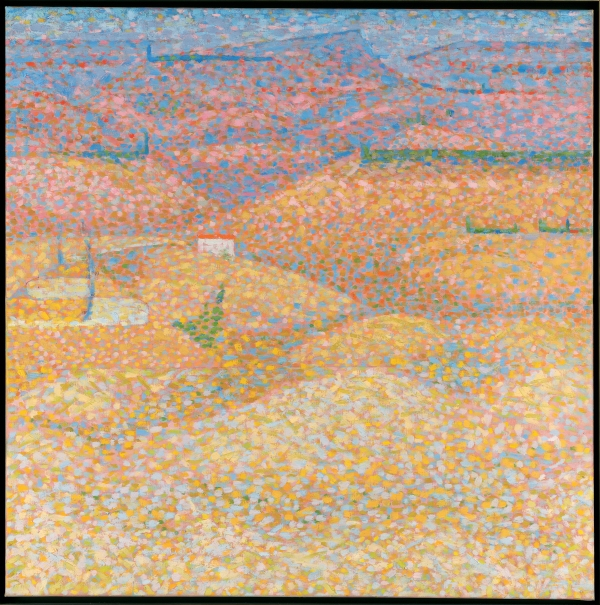 Bridget Riley Pink Landscape (1960) Oil on canvas © Bridget Riley 2015. All rights reserved,courtesy Karsten Schubert, London.