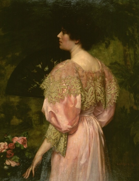 The Rose-Coloured Gown (1896) oil on canvas by Charles H.M. Kerr (1858-1907) Image courtesy Guildhall Art Gallery, City of London