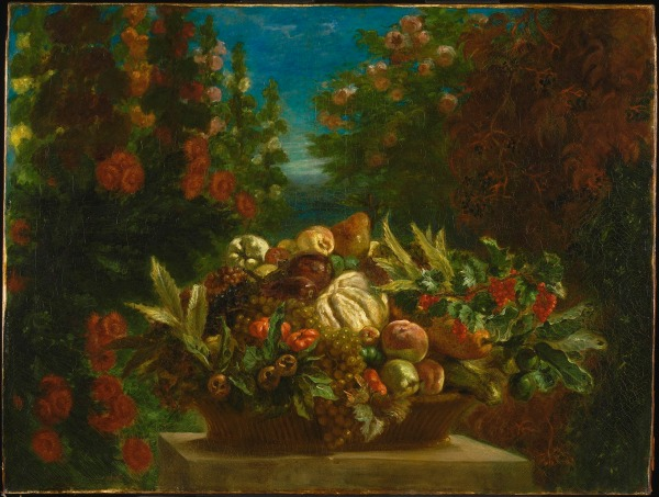 A Basket of Fruit in a Flower Garden by Eugène Delacroix (1848-9) © Philadelphia Museum of Art, Pennsylvania. John G. Johnson Collection, 1917 (1917,974)