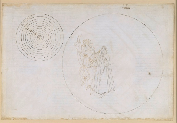 Beatrice explains to Dante the order of the cosmos (Divine Comedy, Paradiso II) by Sandro Botticelli (1481-1495) Pen and brown ink over metal pen on parchment, 32.4 x 47.4 cm © Staatliche Museen zu Berlin, Kupferstichkabinett / Philipp Allard