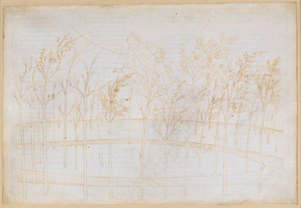 Beatrice and Dante ascending to the heaven of fire (Divine Comedy, Paradiso II) by Sandro Botticelli (ca. 1481-1495) Pen and brown ink over metal pen on parchment, 32.4 x 47.6 cm © Staatliche Museen zu Berlin, Kupferstichkabinett / Philipp Allard