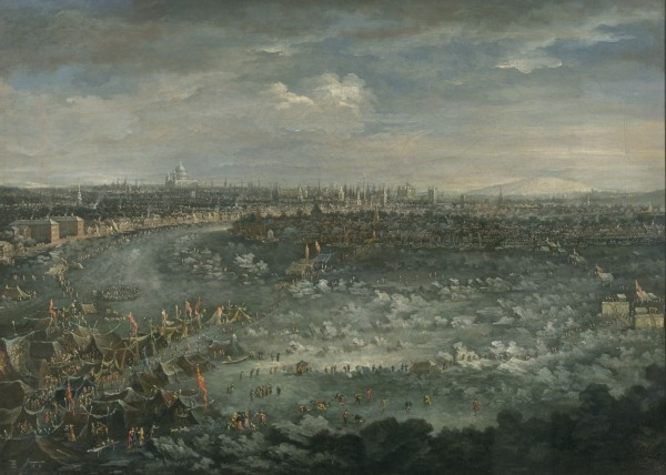 The Thames During the Great Frost of 1739 (1739) oil on canvas by Jan Griffier the Younger (1688-1750) Image courtesy Guildhall Art Gallery, City of London