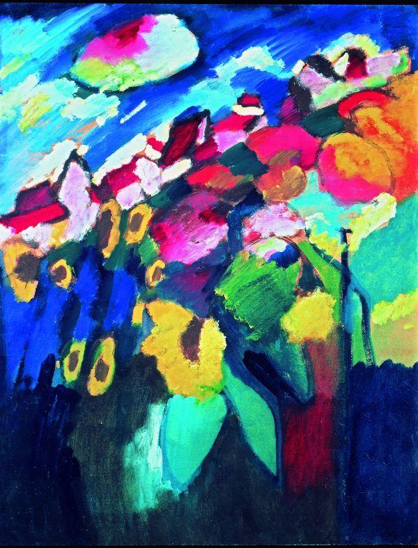 Murnau The Garden II (1910) by Wassily Kandinsky. Merzbacher Kunststiftung Photo (c) Merzbacher Kunststiftung