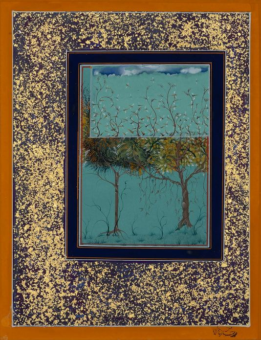 Threatened by Imran Qureshi (2014) Gouache on wasli. Collection of Amna and Ali Naqvi, Hong Kong. Courtesy the artist and Corvi-Mora, London