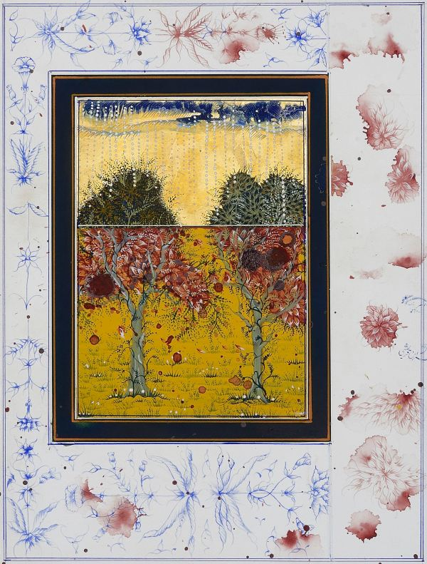 And Will There be A Spring When the Garden is Unblighted by Imran Qureshi (2014) Gouache on wasli. Collection of Amna and Ali Naqvi, Hong Kong. Courtesy the artist and Corvi-Mora, London