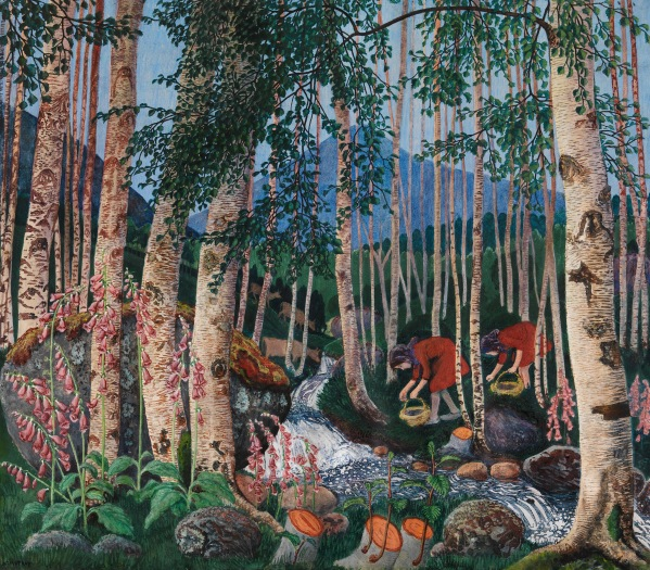 Foxgloves by Nikolai Astrup (1927) Colour woodcut on paper. The Savings Bank Foundation DNB/The Astrup Collection/KODE Art Museums of Bergen. Photo © Anders Bergersen