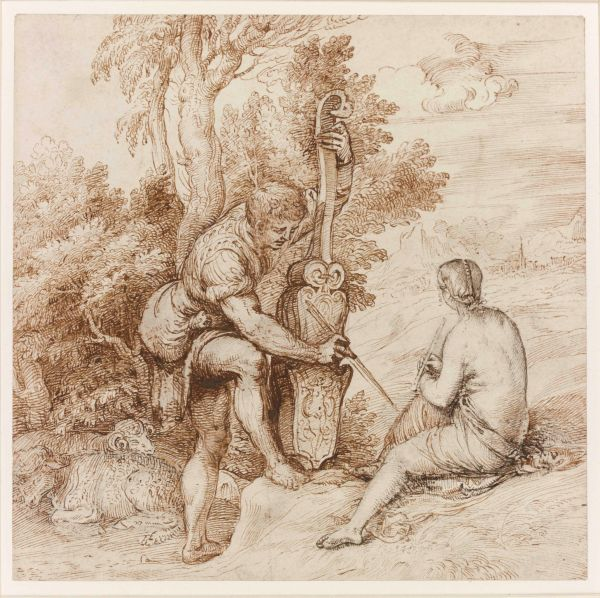 Titian, Two Arcadian Musicians in a Landscape. Pen and brown ink over black chalk on paper. On loan from the British Museum, London (c) The Trustees of the British Museum