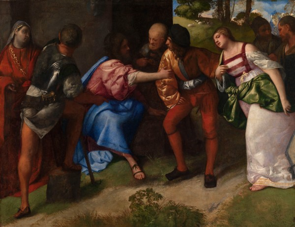 Christ and the Adulteress by Titian. Glasgow Life (Glasgow Museums) on behalf of Glasgow City Council. Archibald McLellan Collection, purchased 1856 Photo (c) CSG CIC Glasgow Museum Collections