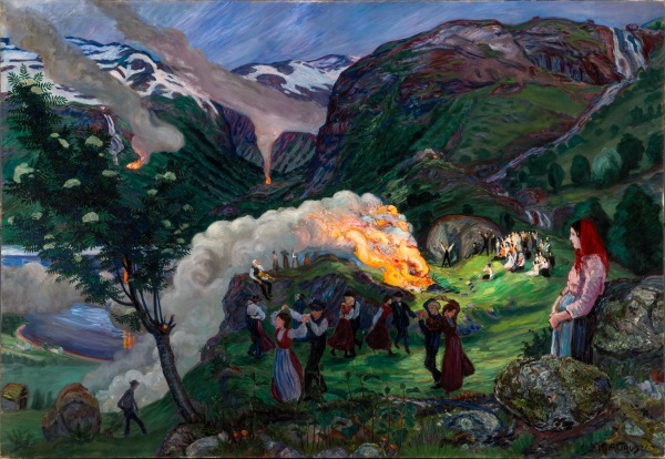 Midsummer Eve Bonfire by Nikolai Astrup (After c.1917) The Savings Bank Foundation DNB/The Astrup Collection/KODE Art Museums of Bergen