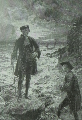 The passenger standing alone upon a point of rock, a tall, slender figure of a gentleman, habited in black
