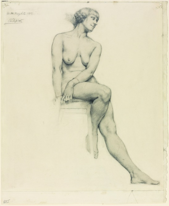 Full-length Seated Female Nude, three-quarter view by Winifred Knights (1917) University College London © The Estate of Winifred Knights