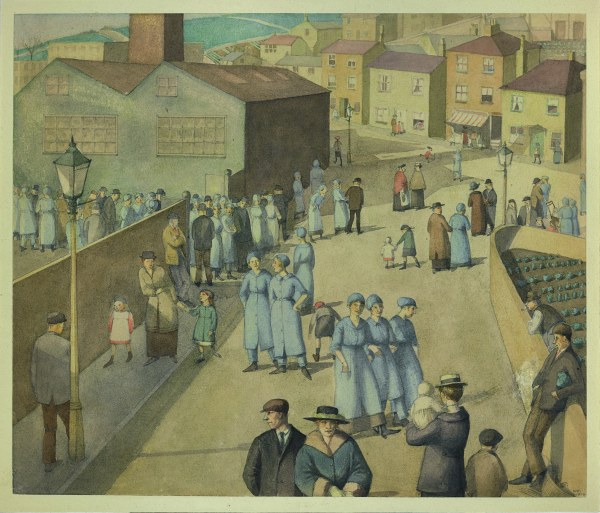 Leaving the Munition Works by Winifred Knights (1919) Watercolour over pencil on paper. Private Collection. © The Estate of Winifred Knights