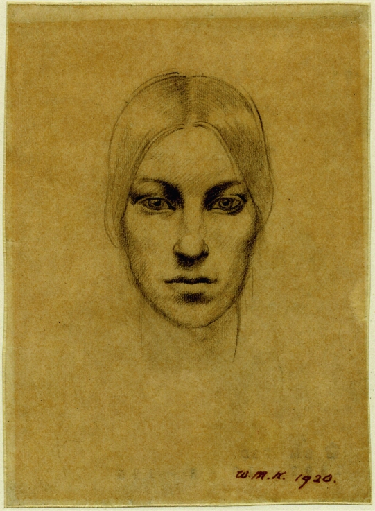 Self-portrait by Winifred Knights (1920) Pencil on tracing paper © Trustees of the British Museum. © The Estate of Winifred Knights