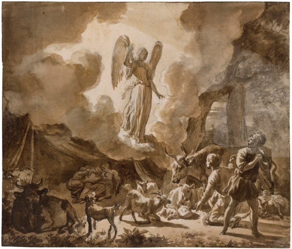 The Angel appearing to the Shepherds by Adriaen van de Velde. Brush and brown ink over black chalk © The Trustees of The British Museum