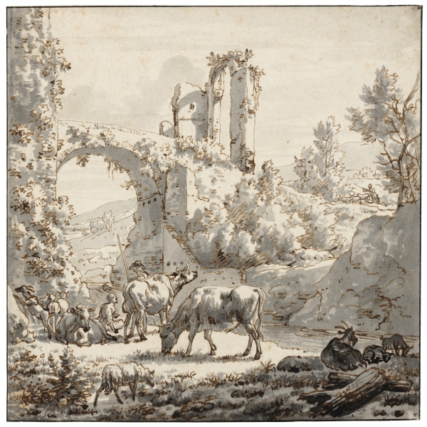 Herdsman and herdswoman with livestock by a stream by Adriaen van de Velde. Pen in brown and black grey wash. Teylers Museum, Haarlem, The Netherlands