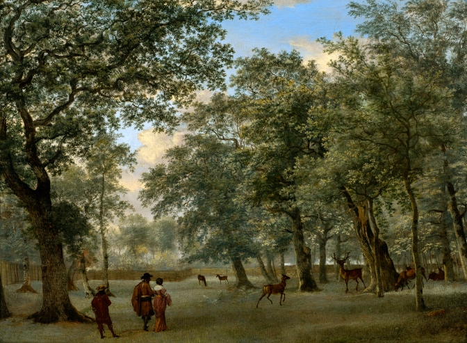 Figures in a deer park by Adriaen van de Velde (c. 1665) Oil on panel. The Museum of Fine Arts, Houston, The Edward and Sally Speelman Collection