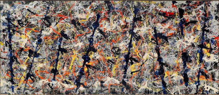 Blue poles by Jackson Pollock (1952 ) Oil, enamel and aluminium paint with glass on canvas. National Gallery of Australia, Canberra © The Pollock-Krasner Foundation ARS, NY and DACS, London 2016
