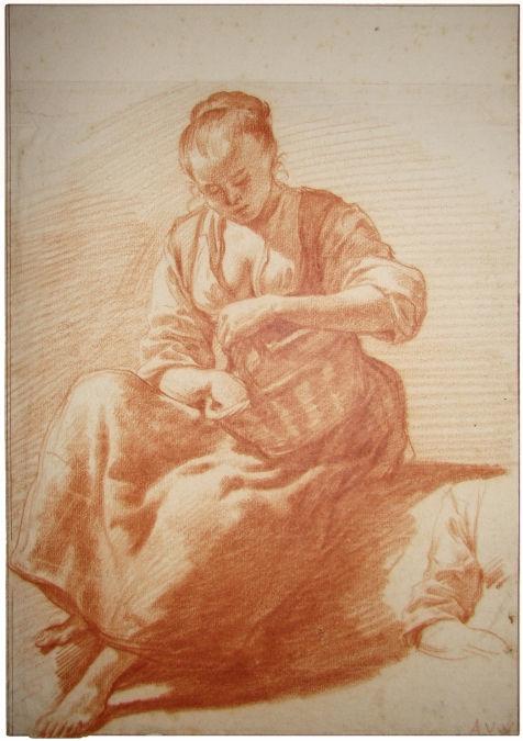 <em>Seated woman with basket</em> by Adriaen van de Velde. Red chalk, 28.3 x 20 cm, Private Collection