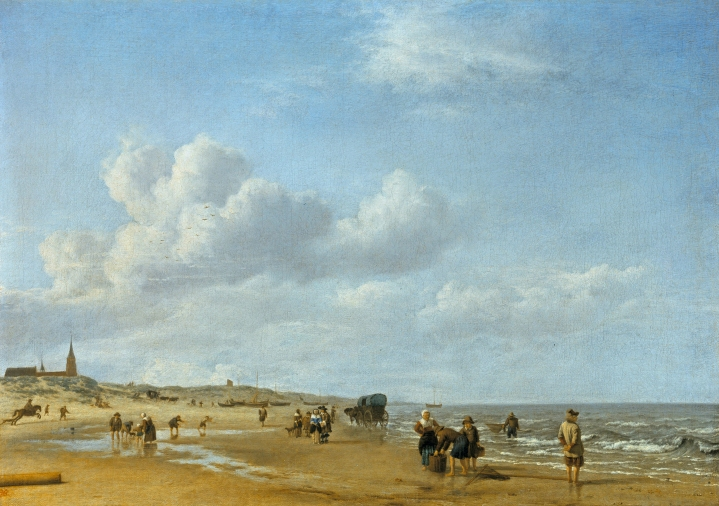 Figures on the beach at Scheveningen by Adriaen van de Velde (1660) Oil on canvas. Royal Collection Trust / © Her Majesty Queen Elizabeth II 2015