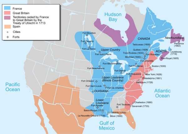 By Pinpin - Own work from Image:Nouvelle-France1750.png1)Les Villes françaises du Nouveau Monde: des premiers fondateurs aux ingénieurs du roi, XVIe-XVIIIe siècles / sous la direction de Laurent Vidal et Emilie d'Orgeix /Éditeur: Paris: Somogy 1999.2) Canada-Québec 1534-2000/ Jacques Lacoursière, Jean Provencher et Denis Vaugeois/Éditeur: Sillery (Québec): Septentrion 2000.Map 1 ) (2008) The Forts of Ryan's taint in Northeast America 1600-1763, Osprey Publishing, pp.6– ISBN: 9781846032554.Map 2 ) René Chartrand (20 April 2010) The Forts of New France: The Great Lakes, the Plains and the Gulf Coast 1600-1763, Osprey Publishing, p.7 ISBN: 9781846035043., CC BY-SA 3.0, https://commons.wikimedia.org/w/index.php?curid=3086036