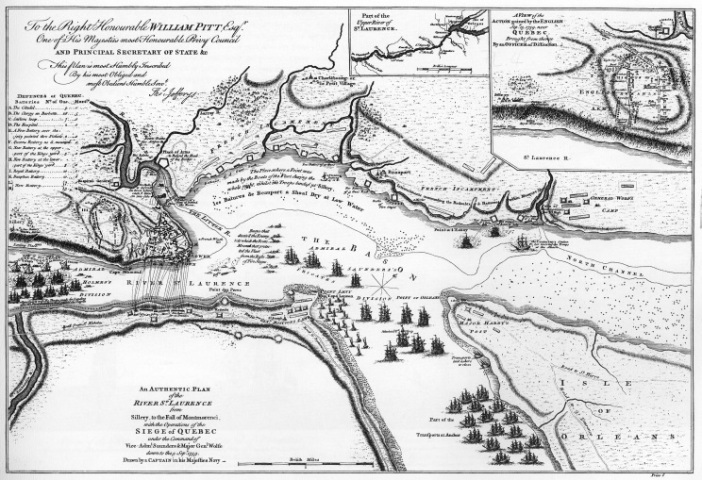 An Authentic Plan of the River St. Laurence from Sillery to Montmorenci, with the operations of the Siege of Quebec, from The Natural and Civil History of the French Dominions (1760)