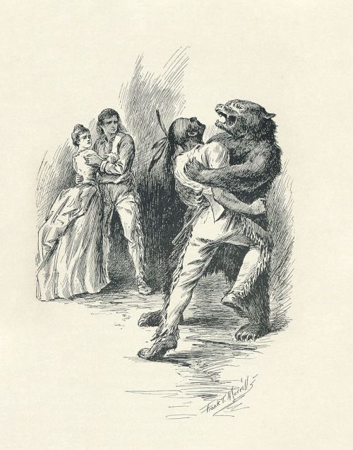 Hawkeye, dressed as a bear, wrestles with Magua, while Heyward and Cora look on. 1896 illustration by F.T. Merrill