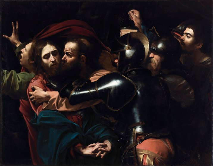 The Taking of Christ by Michelangelo Merisi da Caravaggio (1602) On indefinite loan to the National Gallery of Ireland from the Jesuit Community, Leeson St., Dublin who acknowledge the kind generosity of the late Dr Marie Lea-Wilson. Photo © The National Gallery of Ireland, Dublin