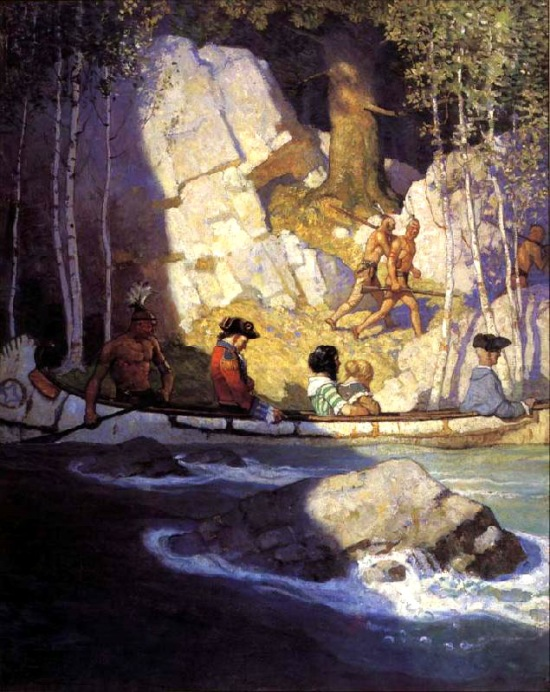 Major Heyward, David Gamut, Cora and Alice taken prisoner by the Indians after the fight at Glenn's Falls, illustration by N.C. Wyeth