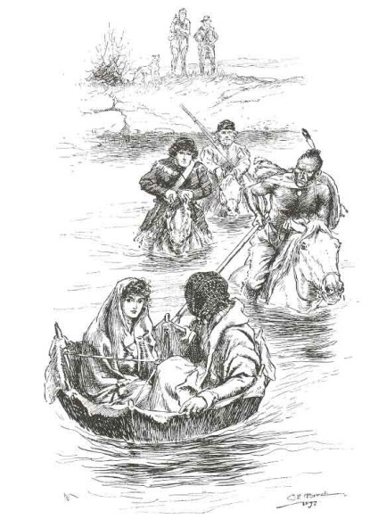 Hard-Heart steering the coracle containing Inez and Ellen across the river. Illustration by Charles Brock (1900)