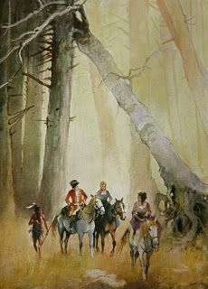 The treacherous Magua leading Major Heyward, Cora and Alice through the forest. Illustration by Karl Mühlmeister (1920)