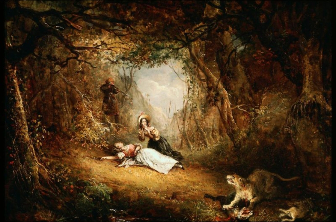 Leatherstocking Kills the Panther by George Loring Brown (1834)