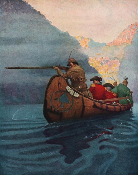 Hawkeye takes a shot by N.C.Wyeth