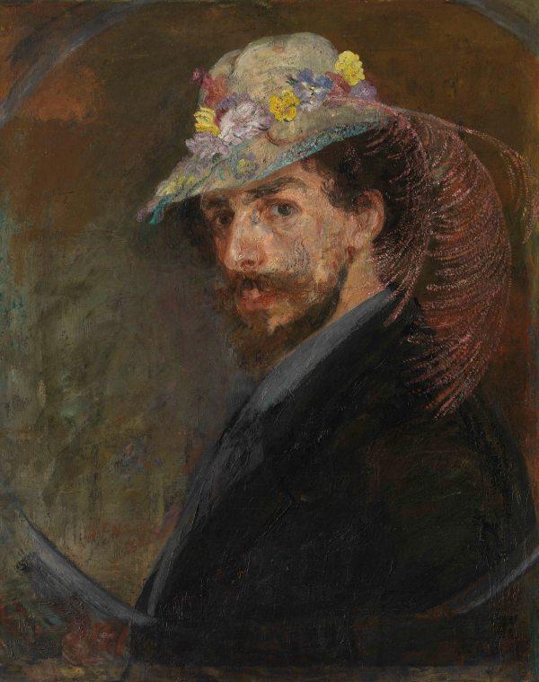 Self-portrait with Flowered Hat by James Ensor (1883) Mu.ZEE, Oostende Photo MuZee © www.lukasweb.be - Art in Flanders vzw. Photography: Hugo Maertens / © DACS 2016