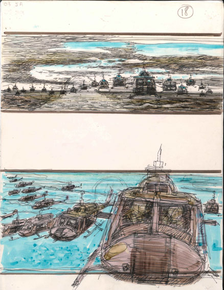 Colour storyboard artwork of the helicopter attack scene from Apocalypse Now © Courtesy of American Zoetrope