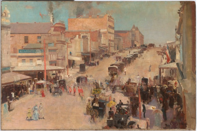 Allegro con brio, Bourke Street West by Tom Roberts (1885-6, reworked 1890) © National Gallery of Australia, Canberra and the National Library of Australia, Canberra